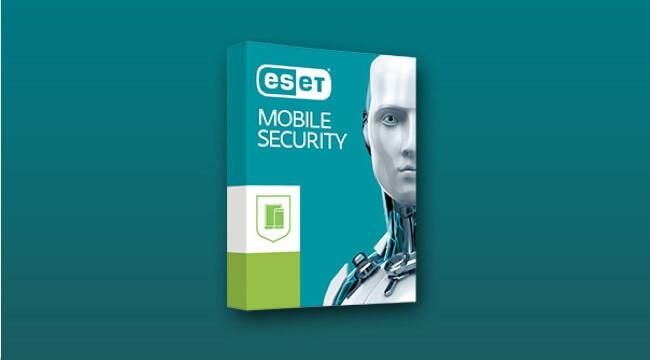 Predajný modrý balík aplikácie ESET mobile security.